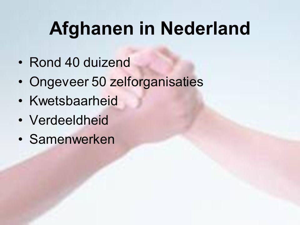 Afghanen in Nederland Rond 40 duizend Ongeveer 50 zelforganisaties Kwetsbaarheid Verdeeldheid Samenwerken