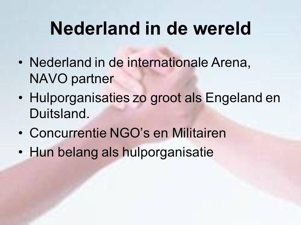Nederland in de wereld Nederland in de internationale Arena, NAVO partner Hulporganisaties zo groot als Engeland en Duitsland. Concurrentie NGO's en M