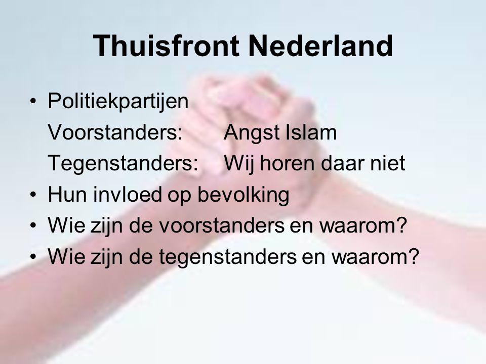 Thuisfront Nederland Politiekpartijen Voorstanders: Angst Islam Tegenstanders: Wij horen daar niet Hun invloed op bevolking Wie zijn de voorstanders e