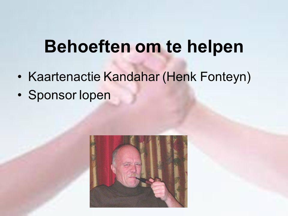 Behoeften om te helpen Kaartenactie Kandahar (Henk Fonteyn) Sponsor lopen