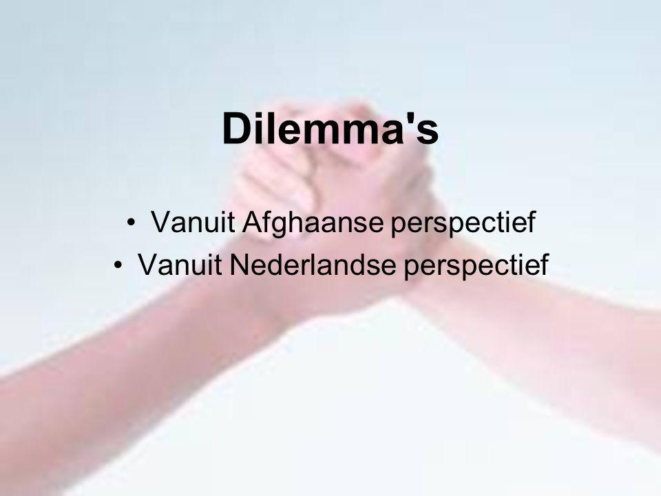 Dilemma's Vanuit Afghaanse perspectief Vanuit Nederlandse perspectief