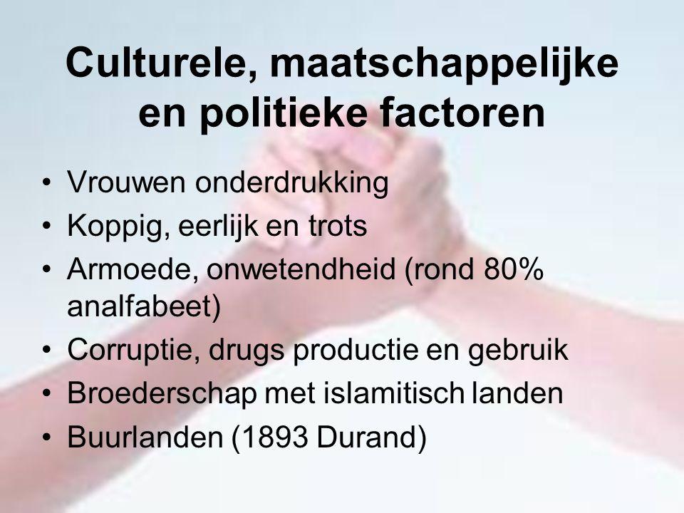 Culturele, maatschappelijke en politieke factoren Vrouwen onderdrukking Koppig, eerlijk en trots Armoede, onwetendheid (rond 80% analfabeet) Corruptie