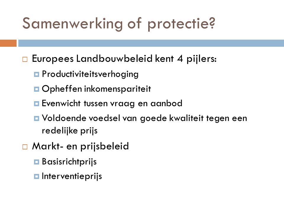 Samenwerking of protectie?  Europees Landbouwbeleid kent 4 pijlers:  Productiviteitsverhoging  Opheffen inkomenspariteit  Evenwicht tussen vraag e