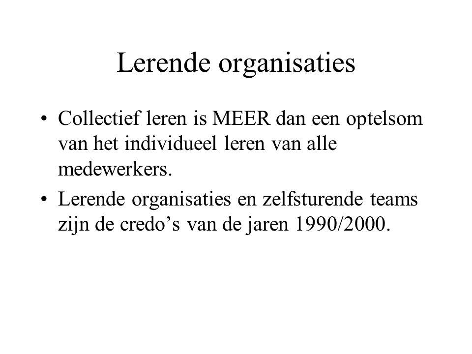 Lerende organisaties Collectief leren is MEER dan een optelsom van het individueel leren van alle medewerkers.