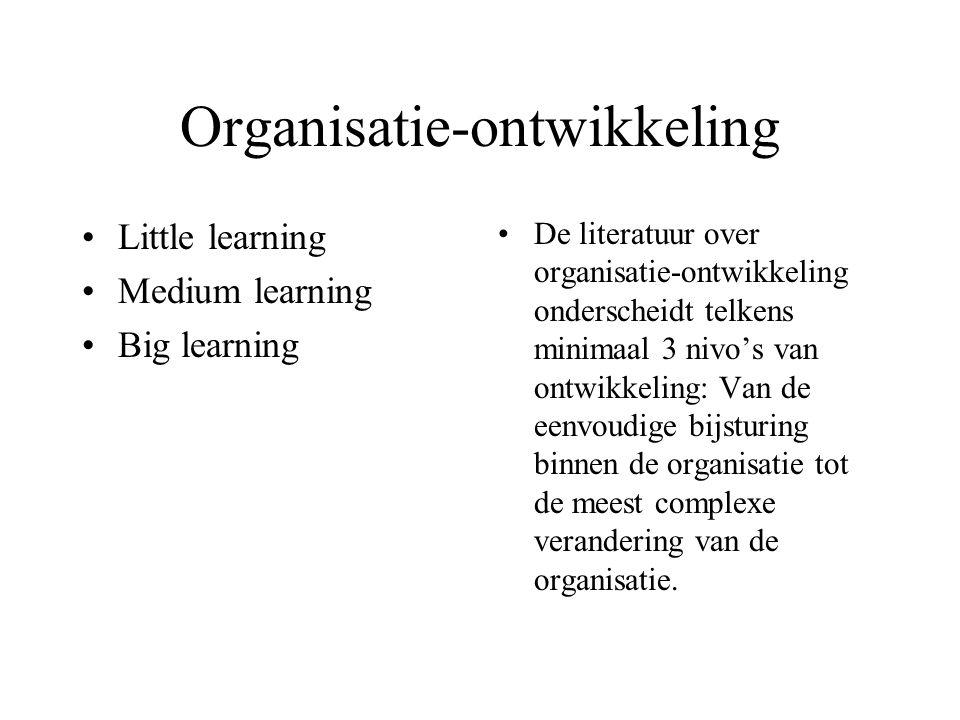 Organisatie-ontwikkeling Little learning Medium learning Big learning De literatuur over organisatie-ontwikkeling onderscheidt telkens minimaal 3 nivo's van ontwikkeling: Van de eenvoudige bijsturing binnen de organisatie tot de meest complexe verandering van de organisatie.