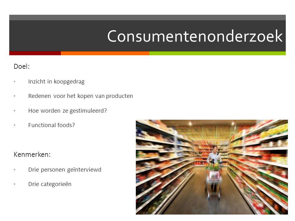 Consumentenonderzoek Doel: Inzicht in koopgedrag Redenen voor het kopen van producten Hoe worden ze gestimuleerd? Functional foods? Kenmerken: Drie pe