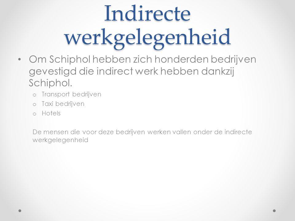 Indirecte werkgelegenheid Om Schiphol hebben zich honderden bedrijven gevestigd die indirect werk hebben dankzij Schiphol. o Transport bedrijven o Tax