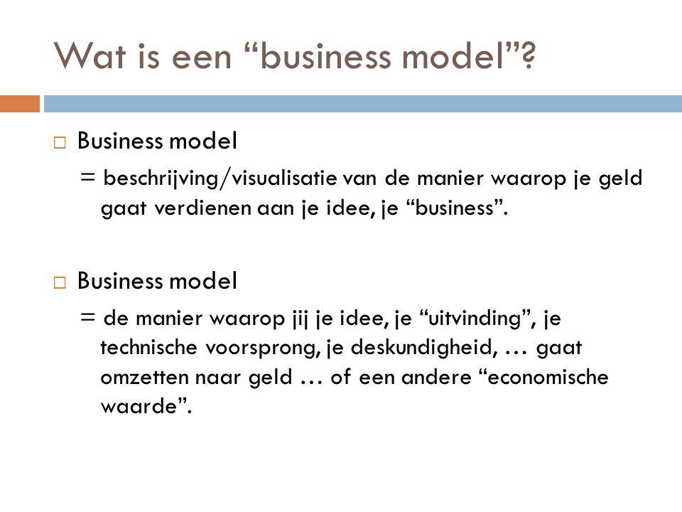 Business model = de vertaling De Techniekers R&D Productie Inkoop ….