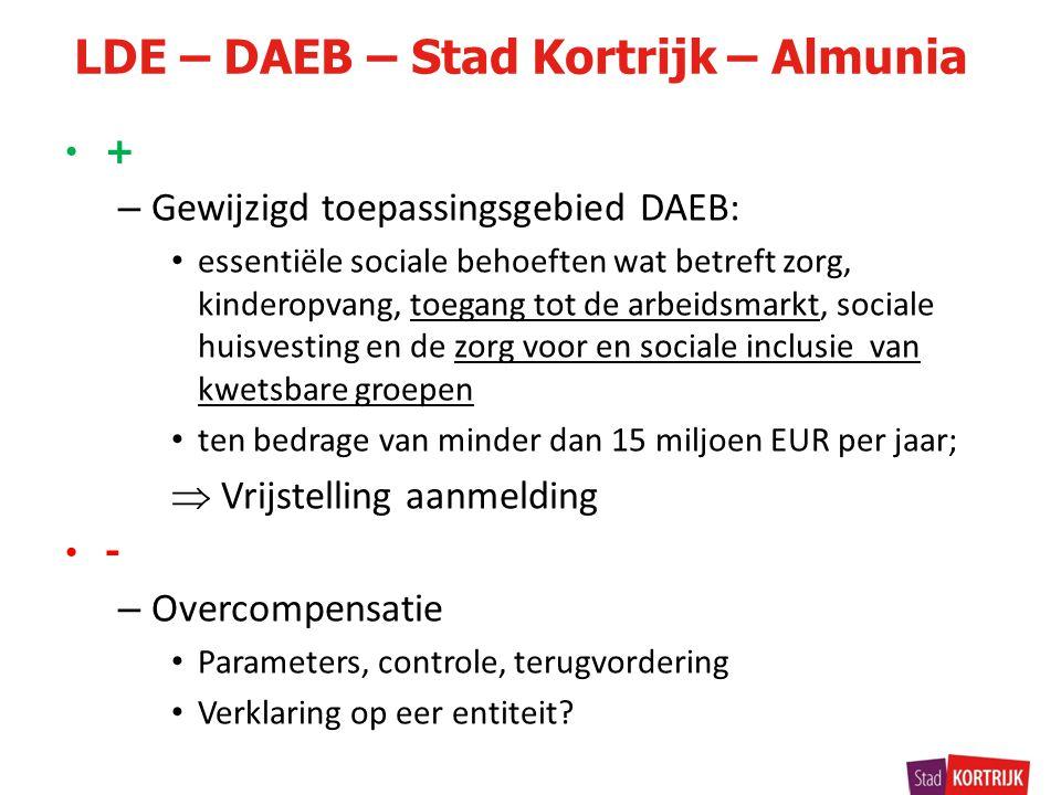 + – Gewijzigd toepassingsgebied DAEB: essentiële sociale behoeften wat betreft zorg, kinderopvang, toegang tot de arbeidsmarkt, sociale huisvesting en