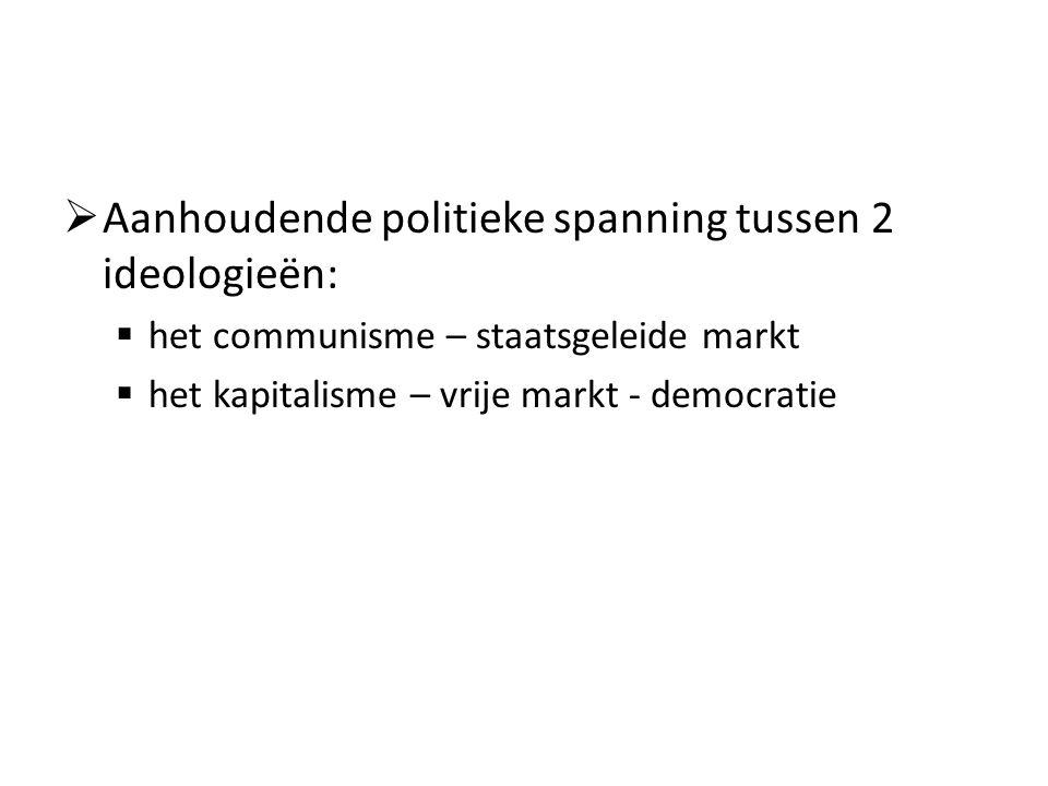  Aanhoudende politieke spanning tussen 2 ideologieën:  het communisme – staatsgeleide markt  het kapitalisme – vrije markt - democratie