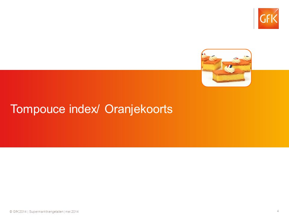 4 © GfK 2014 | Supermarktkengetallen | mei 2014 Tompouce index/ Oranjekoorts
