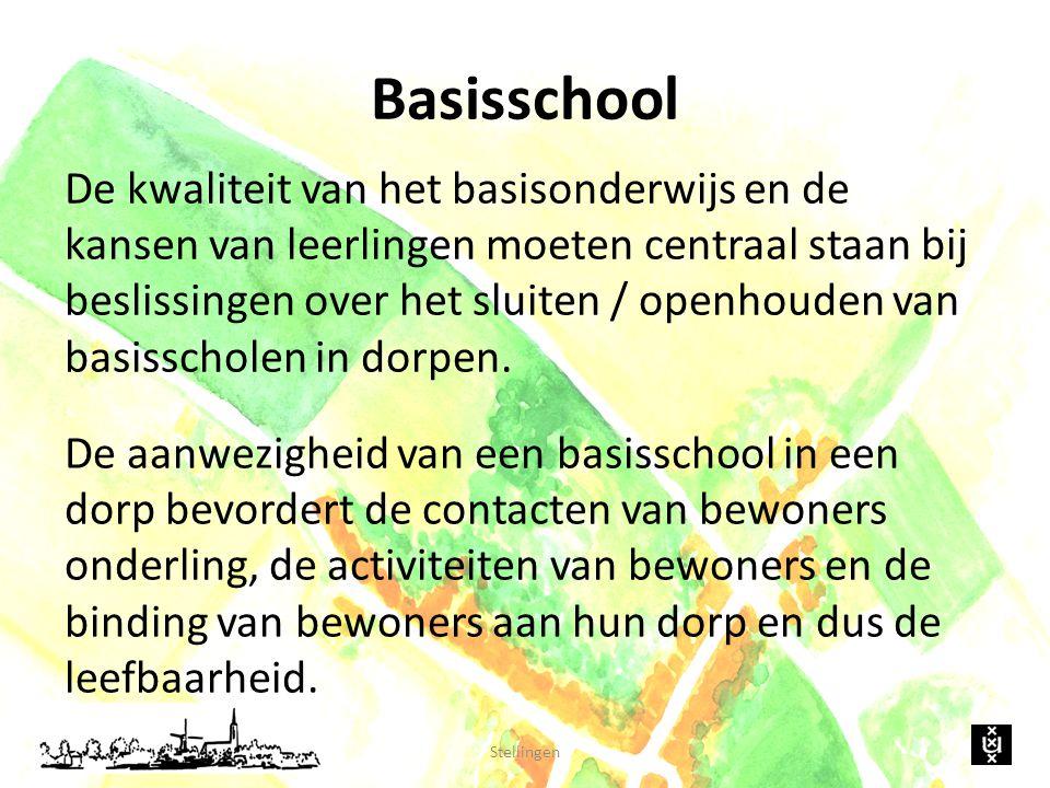 Basisschool De kwaliteit van het basisonderwijs en de kansen van leerlingen moeten centraal staan bij beslissingen over het sluiten / openhouden van basisscholen in dorpen.