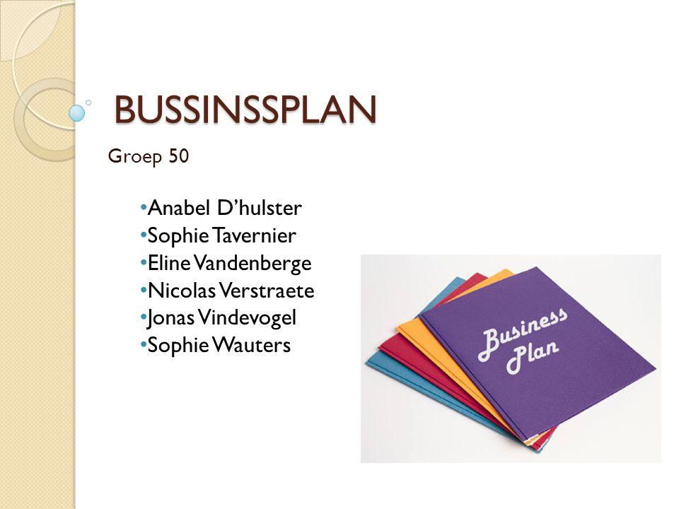 BUSSINSSPLAN Groep 50 Anabel D'hulster Sophie Tavernier Eline Vandenberge Nicolas Verstraete Jonas Vindevogel Sophie Wauters