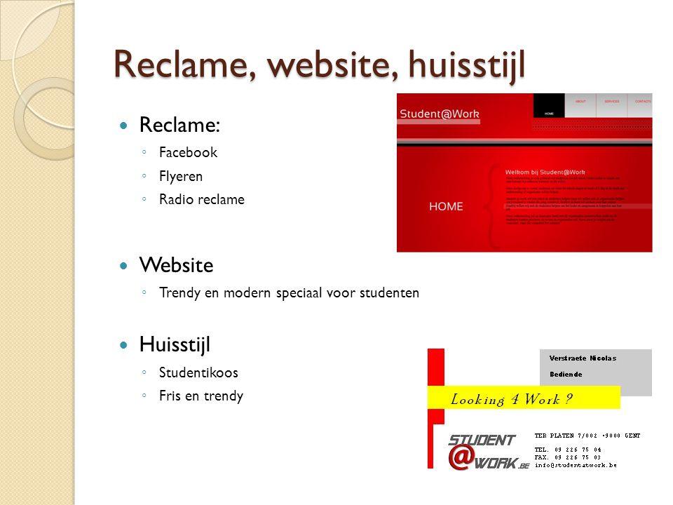 Reclame, website, huisstijl Reclame: ◦ Facebook ◦ Flyeren ◦ Radio reclame Website ◦ Trendy en modern speciaal voor studenten Huisstijl ◦ Studentikoos