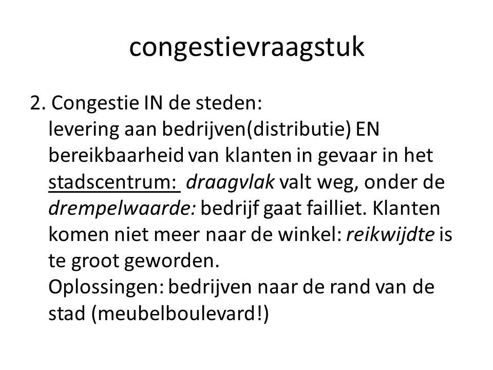 congestievraagstuk 2. Congestie IN de steden: levering aan bedrijven(distributie) EN bereikbaarheid van klanten in gevaar in het stadscentrum: draagvl