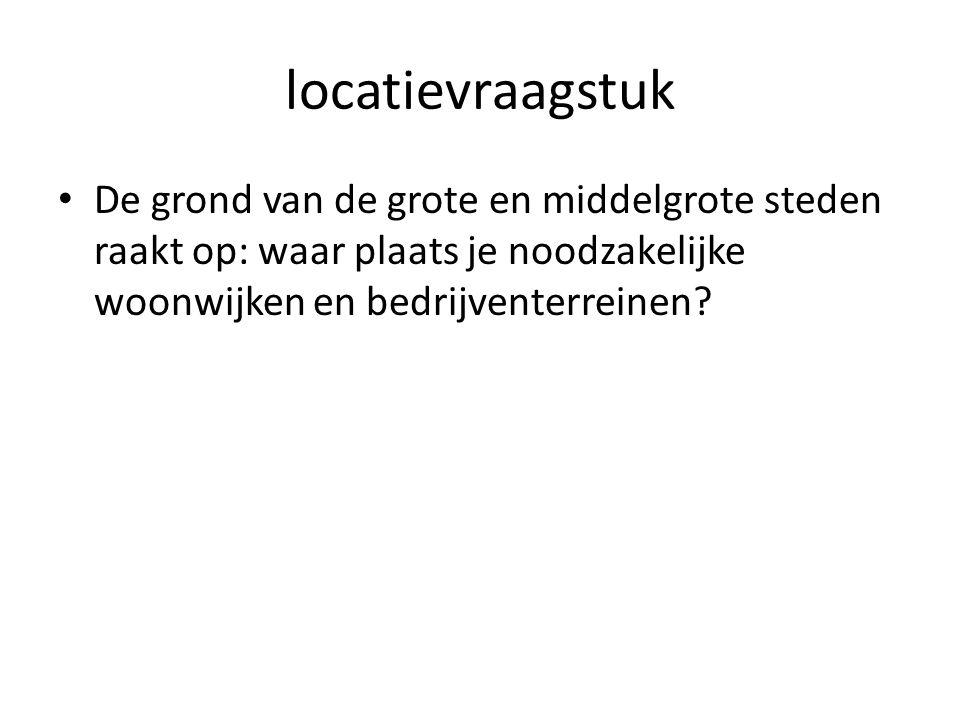 locatievraagstuk De grond van de grote en middelgrote steden raakt op: waar plaats je noodzakelijke woonwijken en bedrijventerreinen?
