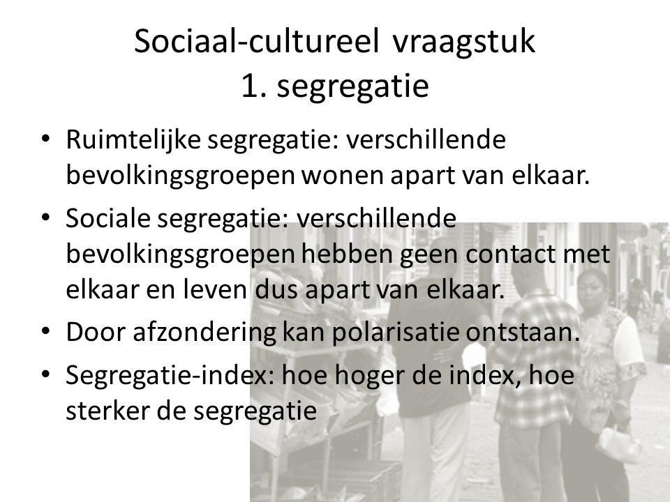 Sociaal-cultureel vraagstuk 1. segregatie Ruimtelijke segregatie: verschillende bevolkingsgroepen wonen apart van elkaar. Sociale segregatie: verschil