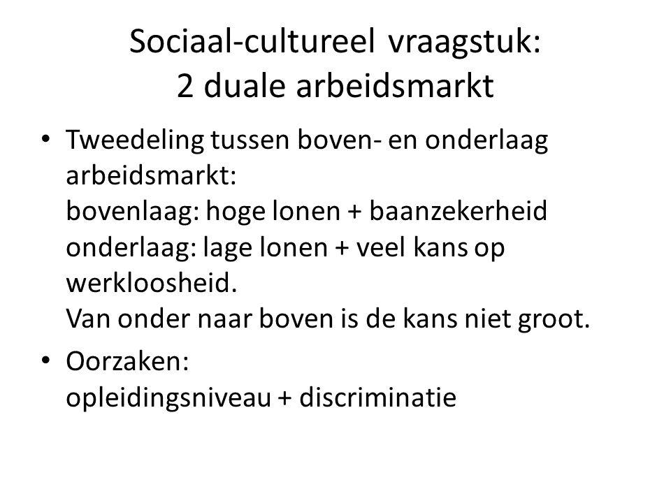 Sociaal-cultureel vraagstuk: 2 duale arbeidsmarkt Tweedeling tussen boven- en onderlaag arbeidsmarkt: bovenlaag: hoge lonen + baanzekerheid onderlaag: lage lonen + veel kans op werkloosheid.