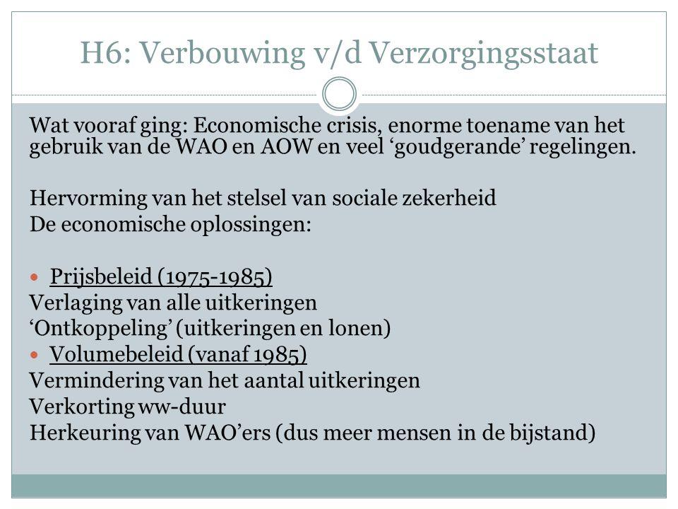 H6: Verbouwing v/d Verzorgingsstaat Herstructurering van de verzoringsstaat De sociaal-culturele en politiek-bestuurlijke oplossingen: Meer weerbaarheid van de burgers Zelfredzaamheid en eigen verantwoordelijkheid Ook bedrijven kregen meer verantwoordelijkheid Privatisering en concurrentie (marktwerking) uitvoerende organen (UWV e.d.) Het 'nieuwe' zorgstelsel (2006) Van landelijk naar lokaal WMO Nu ook (deel) AWBZ Jeugdzorg