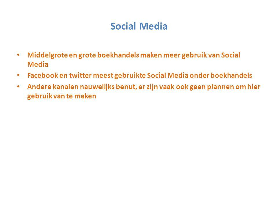 Social Media Middelgrote en grote boekhandels maken meer gebruik van Social Media Facebook en twitter meest gebruikte Social Media onder boekhandels A