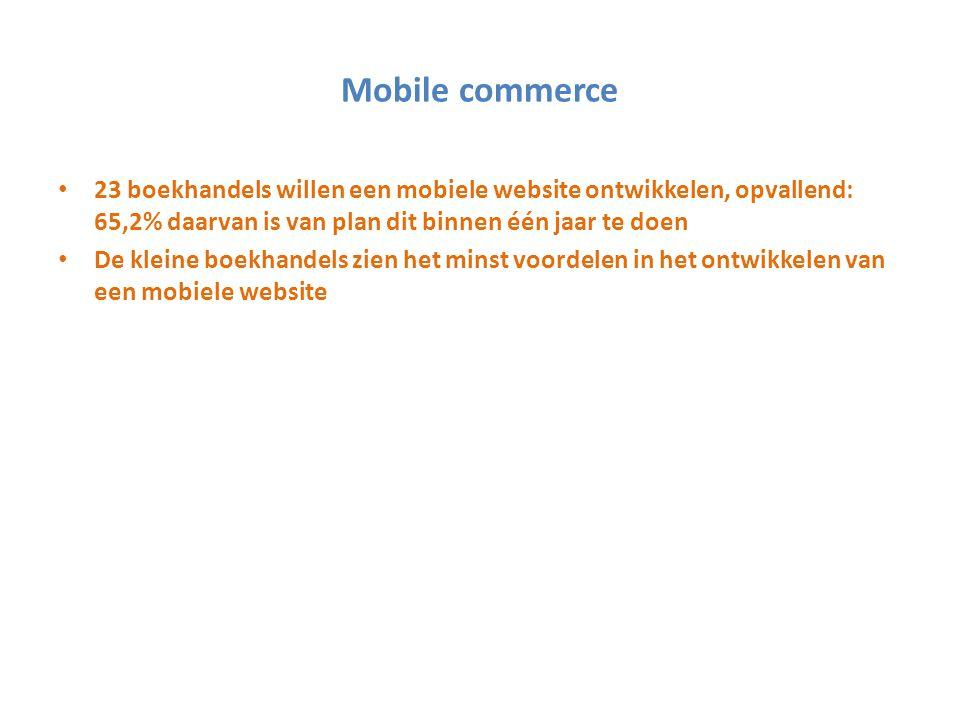 Mobile commerce 23 boekhandels willen een mobiele website ontwikkelen, opvallend: 65,2% daarvan is van plan dit binnen één jaar te doen De kleine boek