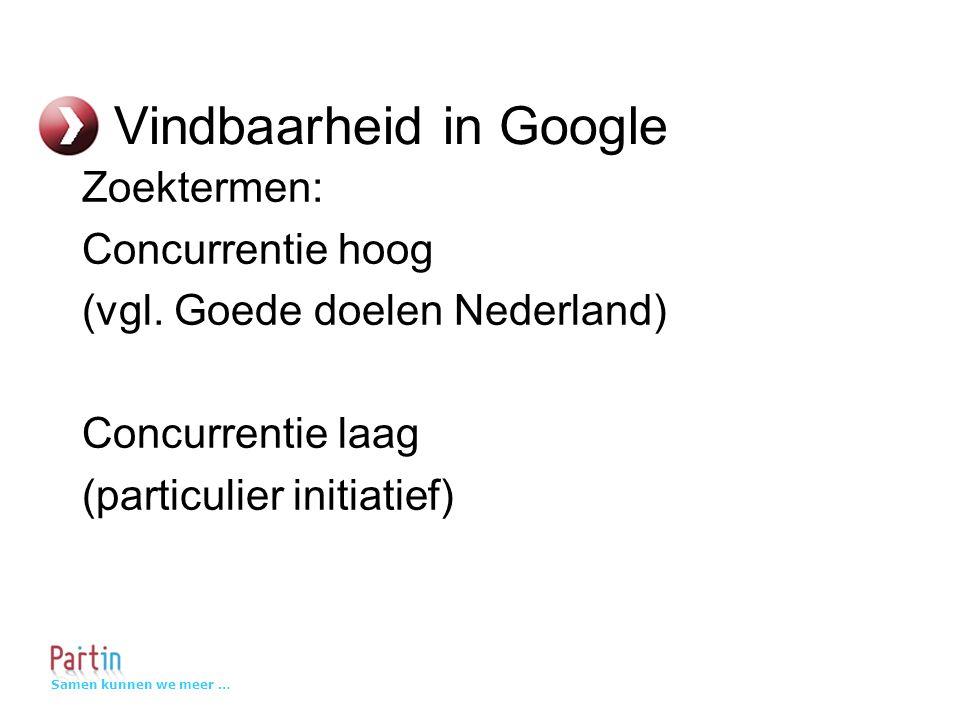 Samen kunnen we meer … Vindbaarheid in Google Zoektermen: Concurrentie hoog (vgl.