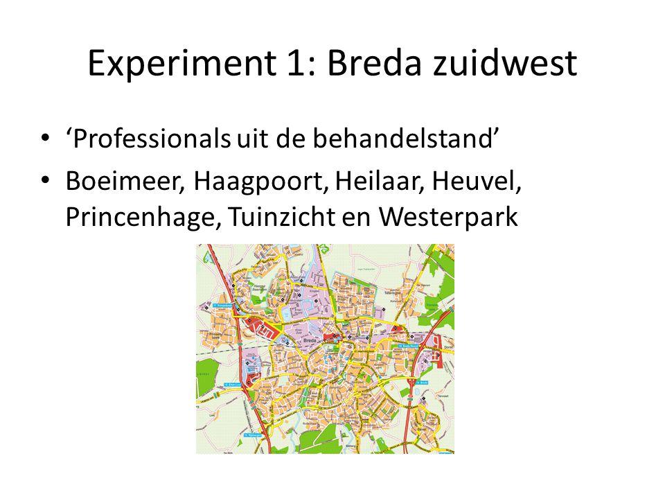 Experiment 1: Breda zuidwest 'Professionals uit de behandelstand' Boeimeer, Haagpoort, Heilaar, Heuvel, Princenhage, Tuinzicht en Westerpark