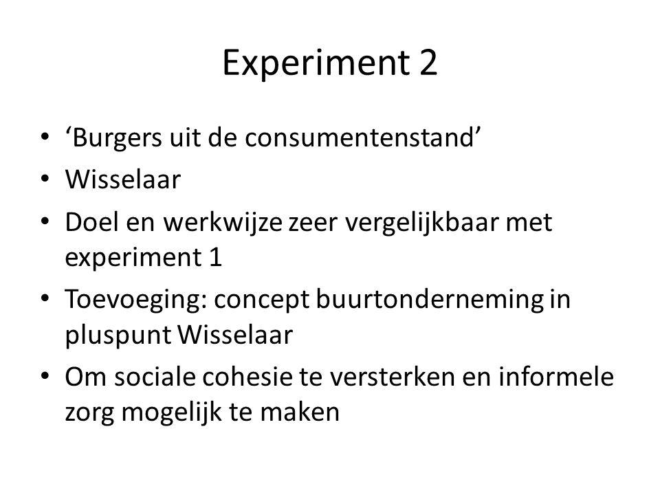 Experiment 2 'Burgers uit de consumentenstand' Wisselaar Doel en werkwijze zeer vergelijkbaar met experiment 1 Toevoeging: concept buurtonderneming in pluspunt Wisselaar Om sociale cohesie te versterken en informele zorg mogelijk te maken