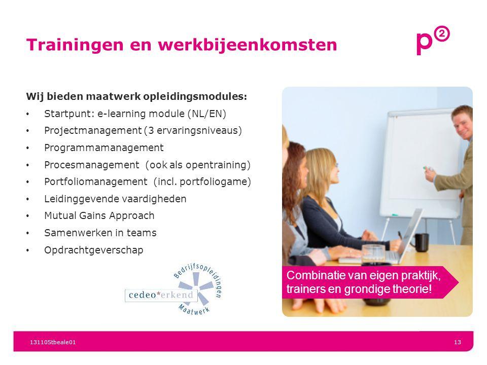 Trainingen en werkbijeenkomsten Wij bieden maatwerk opleidingsmodules: Startpunt: e-learning module (NL/EN) Projectmanagement (3 ervaringsniveaus) Pro