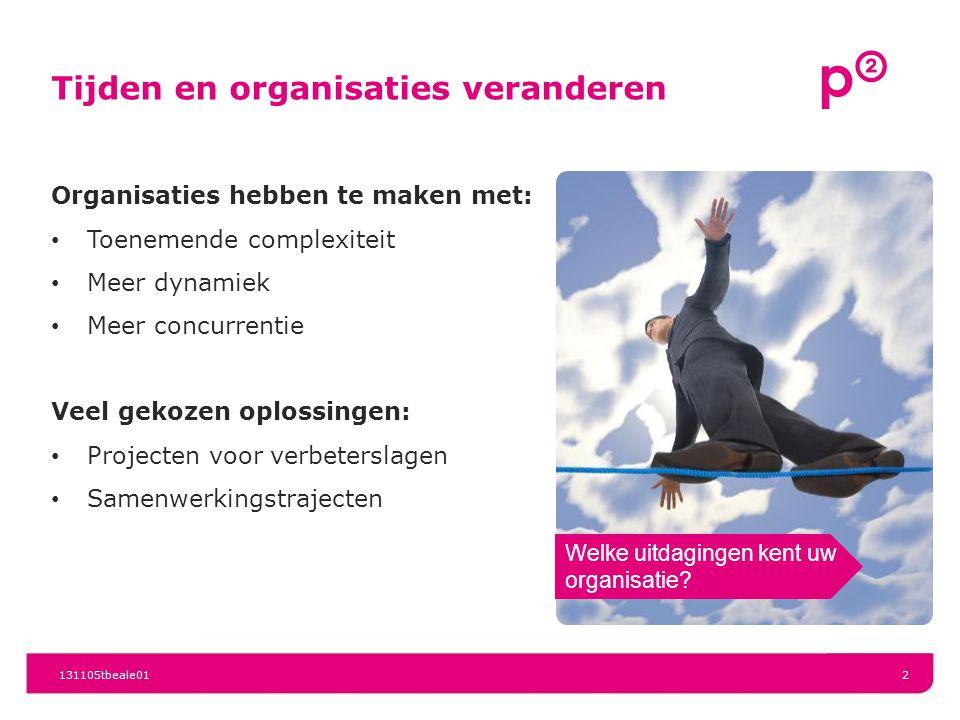 Tijden en organisaties veranderen 131105tbeale012 Organisaties hebben te maken met: Toenemende complexiteit Meer dynamiek Meer concurrentie Veel gekozen oplossingen: Projecten voor verbeterslagen Samenwerkingstrajecten Welke uitdagingen kent uw organisatie?
