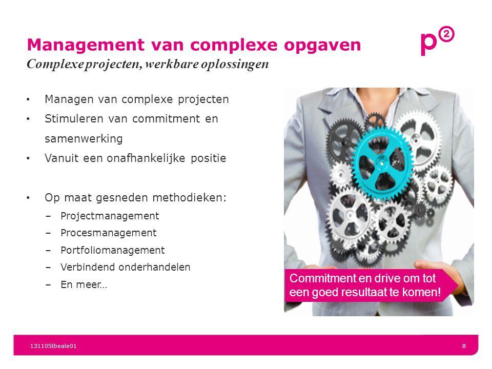 Management van complexe opgaven Managen van complexe projecten Stimuleren van commitment en samenwerking Vanuit een onafhankelijke positie Op maat ges