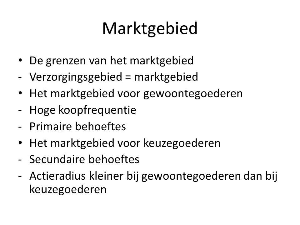 Marktgebied De grenzen van het marktgebied -Verzorgingsgebied = marktgebied Het marktgebied voor gewoontegoederen -Hoge koopfrequentie -Primaire behoe