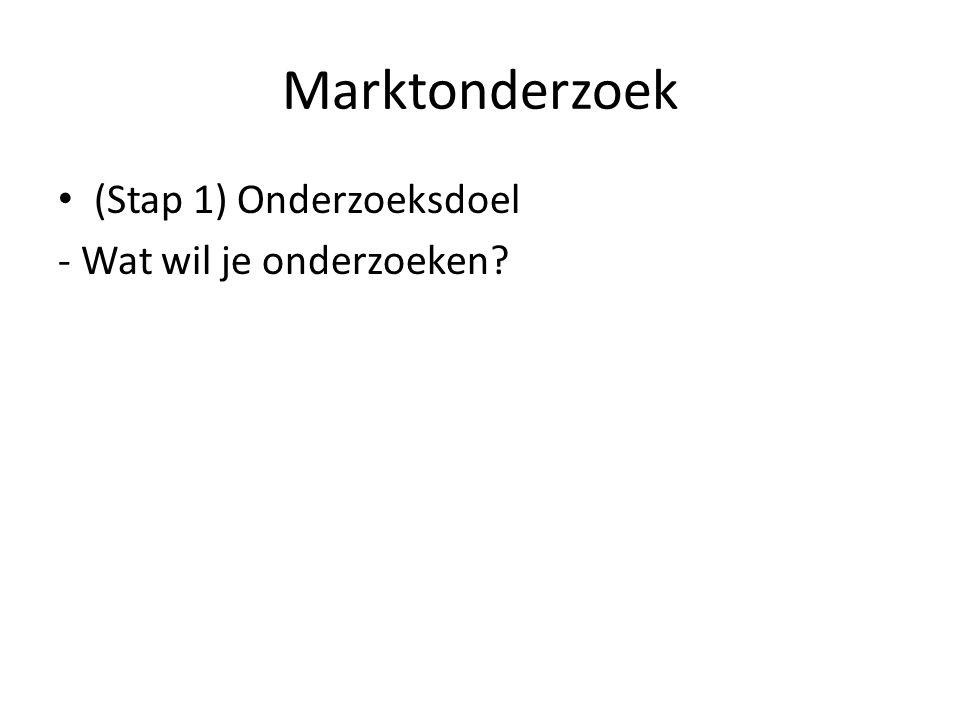 Marktonderzoek (Stap 1) Onderzoeksdoel - Wat wil je onderzoeken?