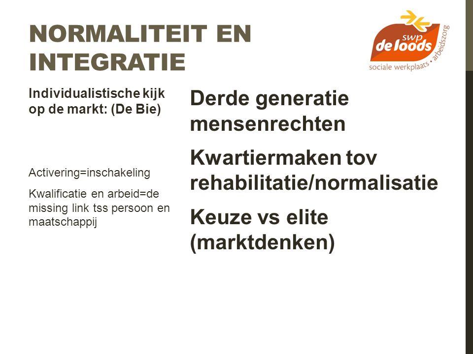Derde generatie mensenrechten Kwartiermaken tov rehabilitatie/normalisatie Keuze vs elite (marktdenken) Individualistische kijk op de markt: (De Bie)