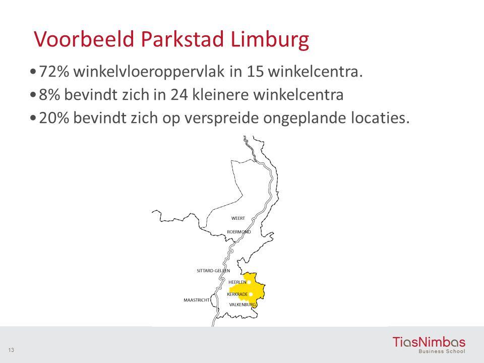 Voorbeeld Parkstad Limburg 72% winkelvloeroppervlak in 15 winkelcentra. 8% bevindt zich in 24 kleinere winkelcentra 20% bevindt zich op verspreide ong