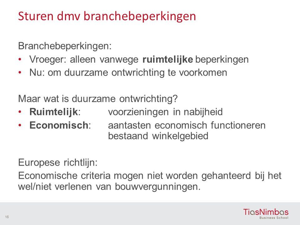 Sturen dmv branchebeperkingen Branchebeperkingen: Vroeger: alleen vanwege ruimtelijke beperkingen Nu: om duurzame ontwrichting te voorkomen Maar wat is duurzame ontwrichting.