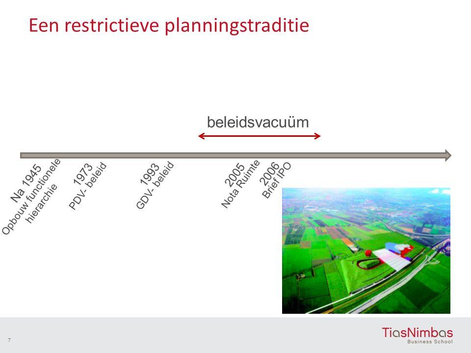 Een restrictieve planningstraditie 7 Na 1945 Opbouw functionele hierarchie 1973 PDV- beleid 1993 GDV- beleid 2005 Nota Ruimte 2006 Brief IPO beleidsva