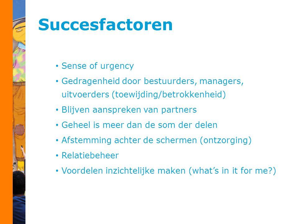 Succesfactoren Sense of urgency Gedragenheid door bestuurders, managers, uitvoerders (toewijding/betrokkenheid) Blijven aanspreken van partners Geheel
