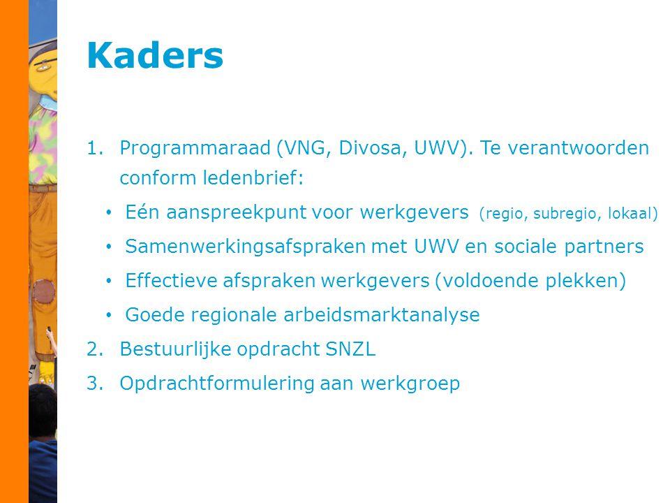 Kaders 1.Programmaraad (VNG, Divosa, UWV). Te verantwoorden conform ledenbrief: Eén aanspreekpunt voor werkgevers (regio, subregio, lokaal) Samenwerki