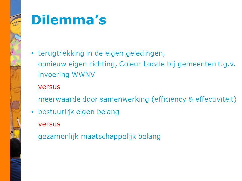Dilemma's terugtrekking in de eigen geledingen, opnieuw eigen richting, Coleur Locale bij gemeenten t.g.v. invoering WWNV versus meerwaarde door samen