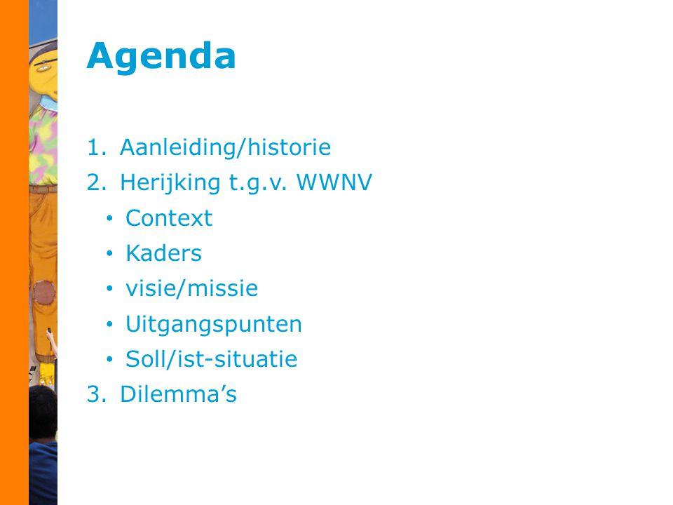 Agenda 1.Aanleiding/historie 2.Herijking t.g.v. WWNV Context Kaders visie/missie Uitgangspunten Soll/ist-situatie 3.Dilemma's