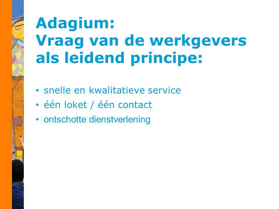 Adagium: Vraag van de werkgevers als leidend principe: snelle en kwalitatieve service één loket / één contact ontschotte dienstverlening