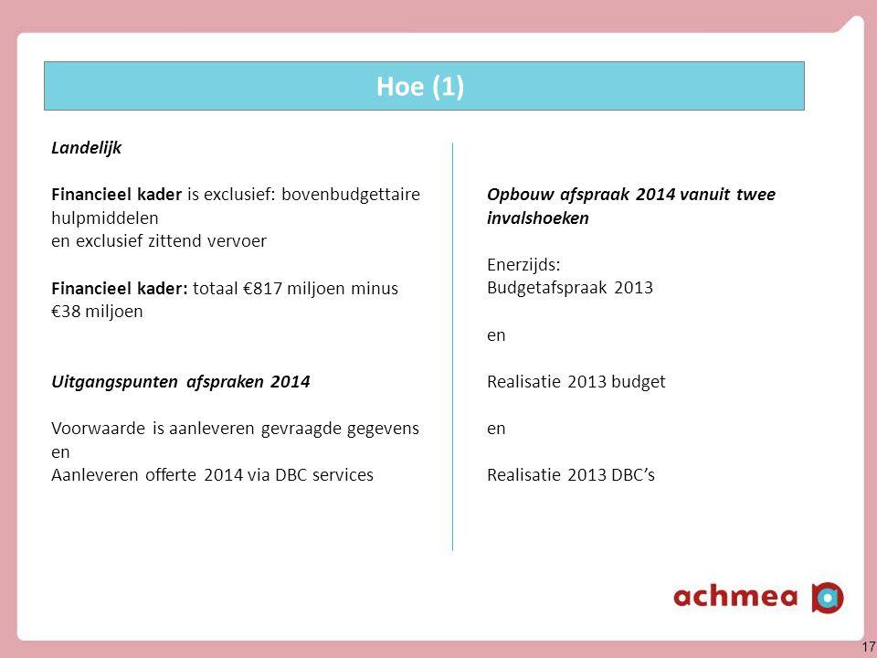 17 Opbouw afspraak 2014 vanuit twee invalshoeken Enerzijds: Budgetafspraak 2013 en Realisatie 2013 budget en Realisatie 2013 DBC's Hoe (1) Landelijk F