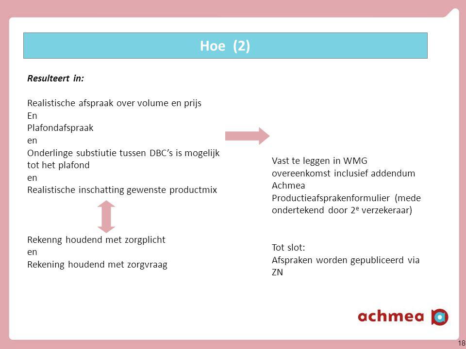 18 Vast te leggen in WMG overeenkomst inclusief addendum Achmea Productieafsprakenformulier (mede ondertekend door 2 e verzekeraar) Tot slot: Afsprake