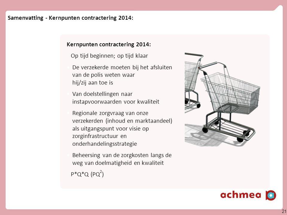 21 Achmea divisie Zorg & Gezondh eid Samenvatting - Kernpunten contractering 2014: Vragen en discussie Kernpunten contractering 2014: Op tijd beginnen