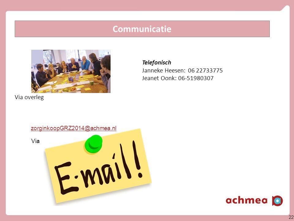 22 Telefonisch Janneke Heesen: 06 22733775 Jeanet Oonk: 06-51980307 Communicatie Via overleg Via zorginkoopGRZ2014@achmea.nl
