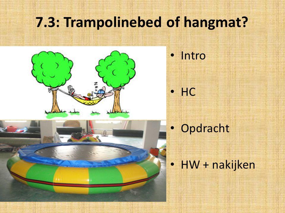 7.3: Trampolinebed of hangmat? Intro HC Opdracht HW + nakijken
