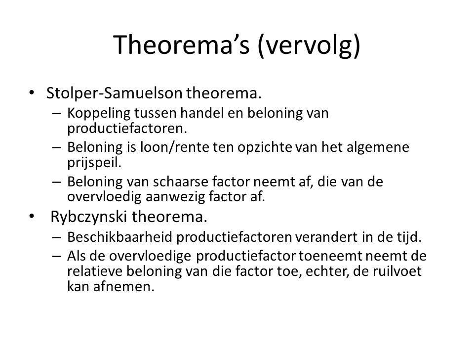Theorema's (vervolg) Stolper-Samuelson theorema. – Koppeling tussen handel en beloning van productiefactoren. – Beloning is loon/rente ten opzichte va