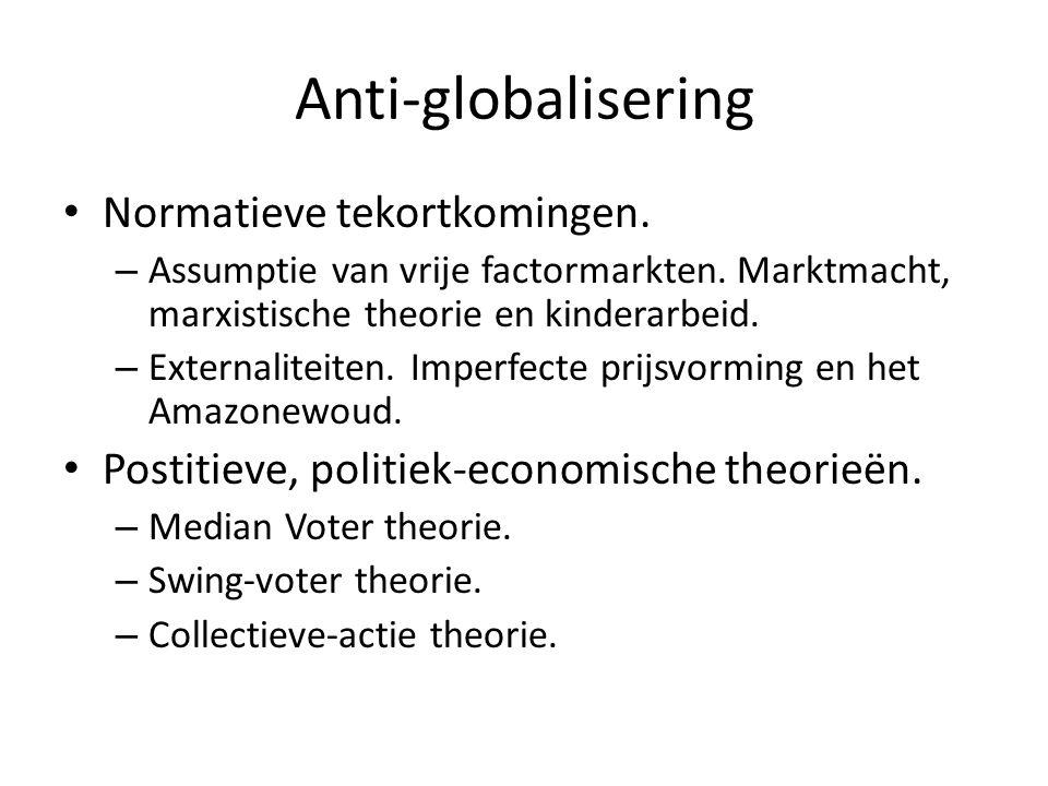 Anti-globalisering Normatieve tekortkomingen. – Assumptie van vrije factormarkten. Marktmacht, marxistische theorie en kinderarbeid. – Externaliteiten