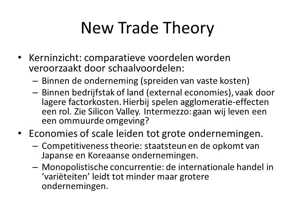 New Trade Theory Kerninzicht: comparatieve voordelen worden veroorzaakt door schaalvoordelen: – Binnen de onderneming (spreiden van vaste kosten) – Bi